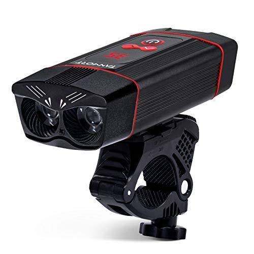 TANMORT Luz Delantera Bicicleta Potente LED, Faro Delantero Bici Recargable USB 1000LM de Diseño de Ojos de Búho y Función de Banco de Energía y Pantalla LED Digital, Linterna de Ciclismo Impermeable
