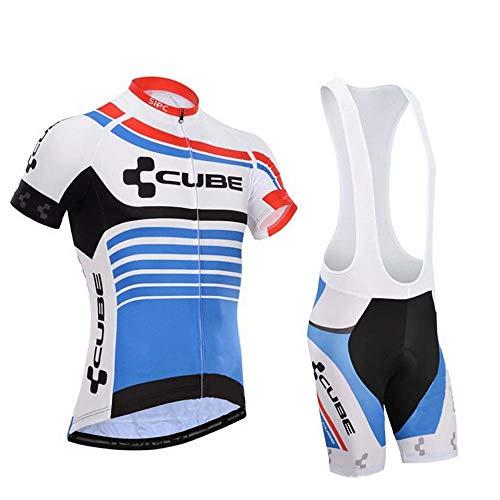 Conjunto Traje Ciclismo para Hombre, Maillot Ciclismo Mangas Cortas y Culotte Bicicleta con 3D Gel Pad, Equipacion Ciclismo para Verano