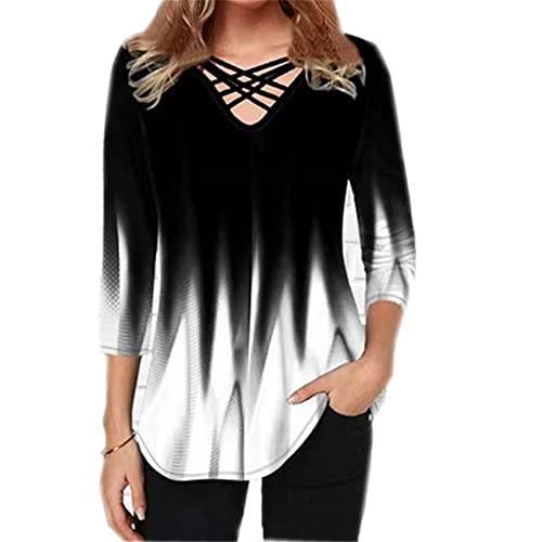 Elesoon Camiseta de verano para mujer, talla grande, manga corta/media, degradado, color degradado,...*