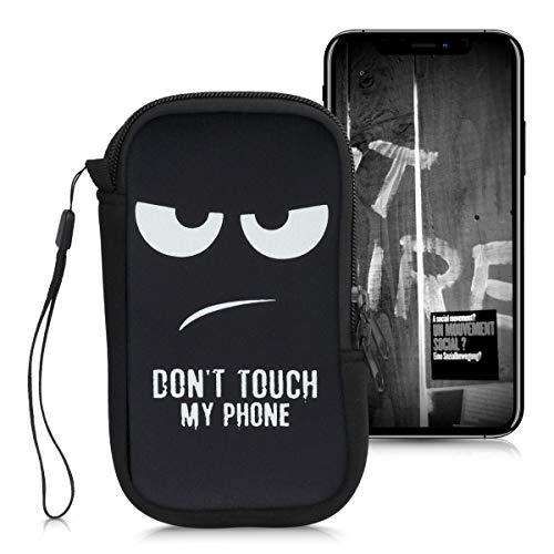 kwmobile Funda Universal para móvil de L - 6,5' - Estuche de Neopreno con Cierre - Carcasa Don't Touch my Phone