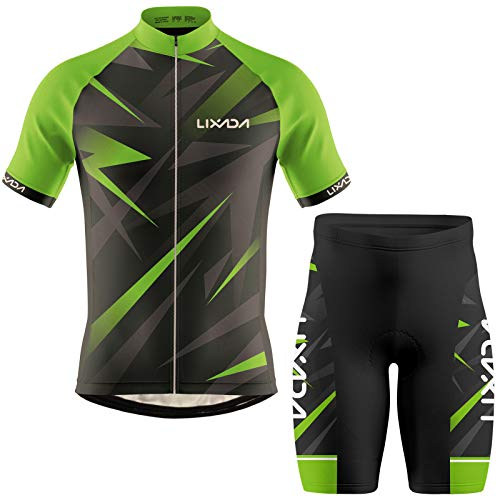 Lixada Ropa de Ciclismo para Hombre,Manga Corta Transpirable + Pantalones Cortos Acolchados,Traje de Ropa de Bicicleta de Montaña (Verde+Negro, L)