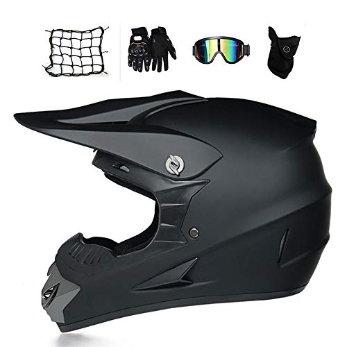 MRDEAR Casco Enduro MTB Hombre Negro, Casco Descenso/Gafas/Máscara/Guantes/Red Elástica Moto, Casco Motocross Adulto Casco Moto Cross MX Bicicleta Quad Off Road ATV Scooter (L)
