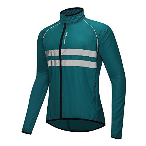 WOSAWE Hombres Ciclismo Chaquetas Impermeable Chaleco Ligero Motocicleta Viento Reflectante Abrigo Correr Montañismo Ropa Deportiva(215 Azul Marino 3XL)