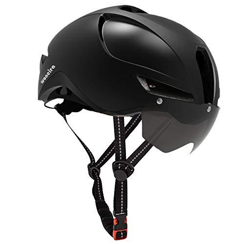 WONEIRA Casco de bicicleta, casco de bicicleta con gafas magnéticas desmontables y luz trasera para adultos, casco de ciclismo de montaña, para hombre y mujer, estándar de seguridad CPSC (negro)