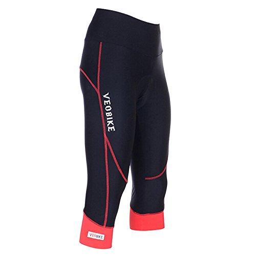 Pantalones de ciclismo para mujer, con acolchado Coolmax en la zona de asiento, 3/4 confort, ajuste estrecho, color rojo/negro, tamaño EU-XXL