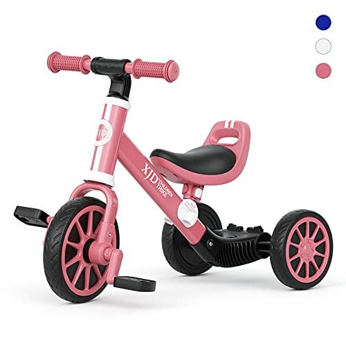 XJD 3 EN 1 Triciclo para Niños Bicicleta para bebé 1-3 años con Pedales Desmontables Asiento Elevador para Ajustar Alturas Regalo de cumpleaños Clásico 1.0(Rojo)