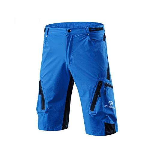 X-TIGER Pantalones Cortos de Ciclo Holgados de Hombres, Transpirables Sueltos, para MTB de los Deportes al Aire Libre (XXL, Azul)
