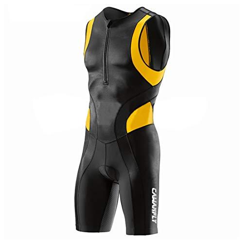 GWELL Traje de triatlón para hombre, triatlón, compresión, una pieza, Duatlón, correr, nadar, ciclismo, competición Amarillo (nuevo tamaño). L