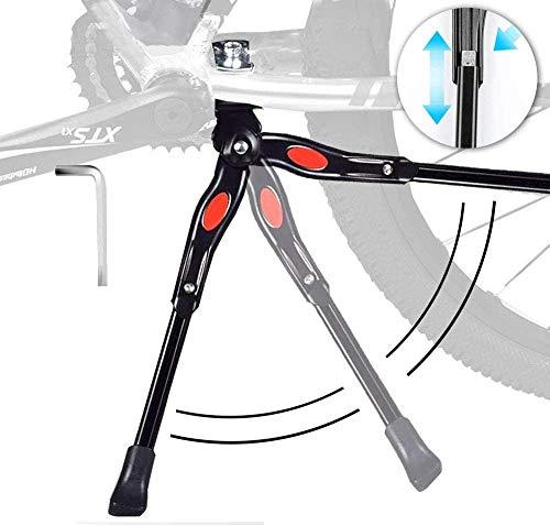 alouweekuky Caballetes para Bicicletas - Soporte de Bicicleta de Aleación Ajustable MTB con pie de Goma Antideslizante, Soporte de pie de Aleación Universal para Bicicleta 24'- 28' (Negro1)