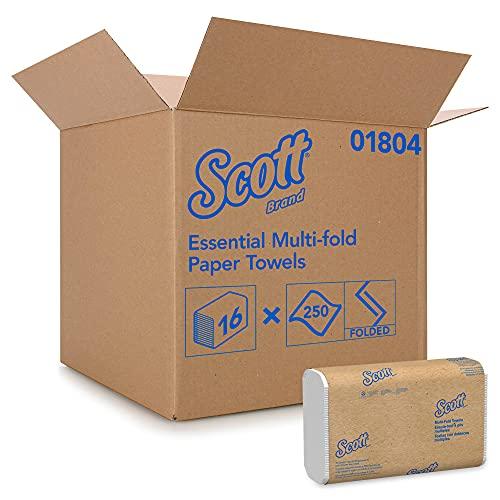 Scott U1804500 1804 Toallas de Mano Intercaladas Multifold, 16 Paquetes de 250 Hojas de Papel, Tecnología Absorbente Airflex, Color: Blanco