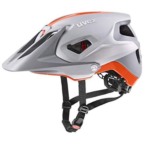 uvex Quatro integrale Casco de Bicicleta, Unisex-Adult, Silver-Orange Mat, 52-57 cm