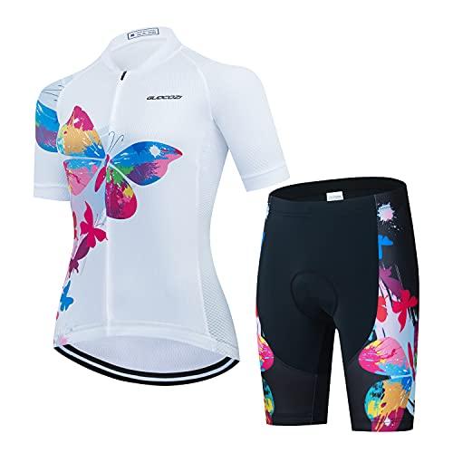 Conjunto de Ciclismo Verano para Mujer, Maillot de Manga Corta + Culote Pantalones Cortos Acolchado 3D para Bicicleta