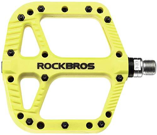 ROCKBROS Pedales Bicicleta, Pedales de Nylon para MTB BMX Bicicleta Carretera, Plataforma Grande Antideslizantes Ligeros, 9/16 Pulgadas