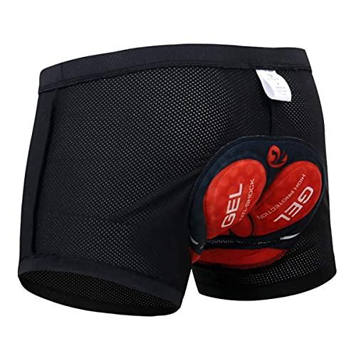 X-TIGER Hombres Ropa Interior de Bicicleta con 5D Gel Acolchado MTB Ciclismo Pantalones Cortos,Color Negro con Rojo,XXXL(CN)=XXL(EU)