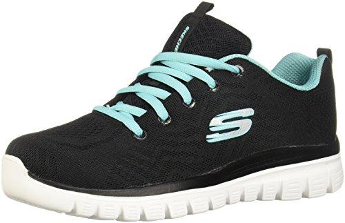 Skechers Graceful-Get Connected, Zapatillas Mujer, Negro (Bktq Black/Turquoise Trim), 39 EU*