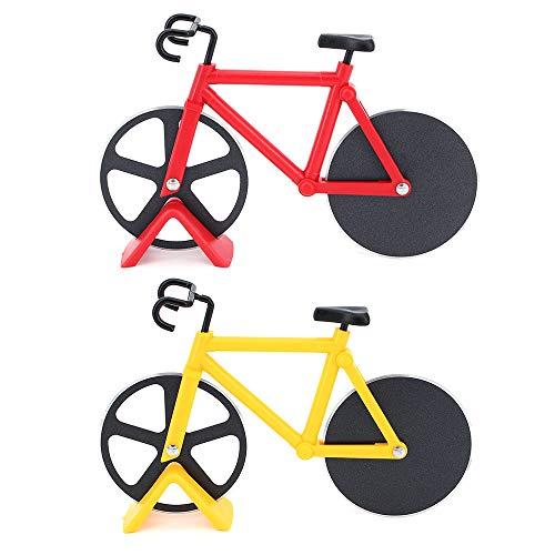TAECOOOL 2 piezas de bicicleta cortador de pizza de acero inoxidable rodillo rueda de pizza bicicleta cortador de pizza (rojo amarillo)
