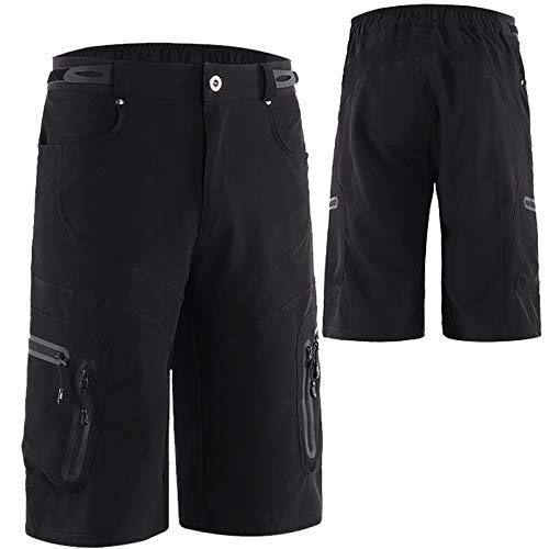 WWAIHY Pantalones Cortos De MTB para Hombres,Secado Rápido Transpirables Sueltos Culotte Ciclismo con Bolsillos Pantalon Bici,para Montaña Deporte Exteriores(Size:L,Color:Negro)
