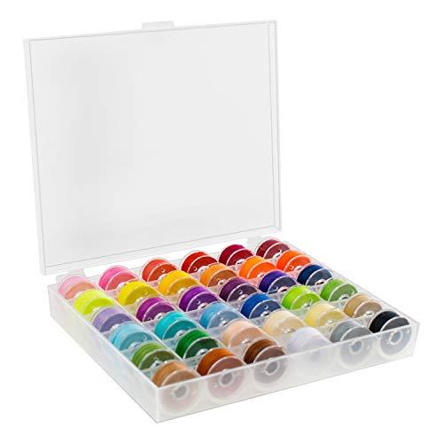 TRIXES 36PC Bobinas de Hilo Bobbin – para Accesorios de Bordado de máquina de Coser – con Estuche de Almacenamiento – Colores Variados para proyectos artesanales de Arte & Ropa – Tamaño estándar