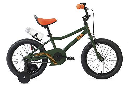 FabricBike Kids - Bicicleta con Pedales para niño y niña, Ruedines de Entrenamiento Desmontables, Frenos, Ruedas 12 y 16 Pulgadas, 4 Colores (Amazon Green, 16': 3-7 Años (Estatura 96cm - 120cm))