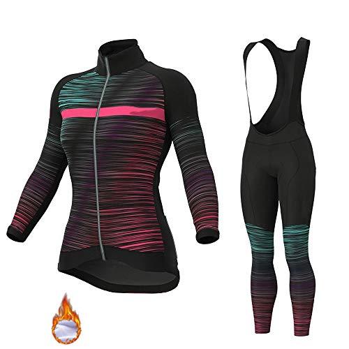 GET Conjunto de Maillot de Ciclismo de Manga Larga para Mujer, Camiseta de Bicicleta de Lana Térmica, Ropa de Medias + Pantalones Acolchados 9D (Color : C, Talla : M)