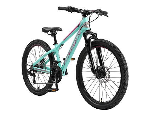 BIKESTAR Bicicleta de montaña Juvenil de Aluminio 24 Pulgadas de 10 a 13 años | Bici niños Cambio Shimano de 21 velocidades, Freno de Disco, Horquilla de suspensión | Menta