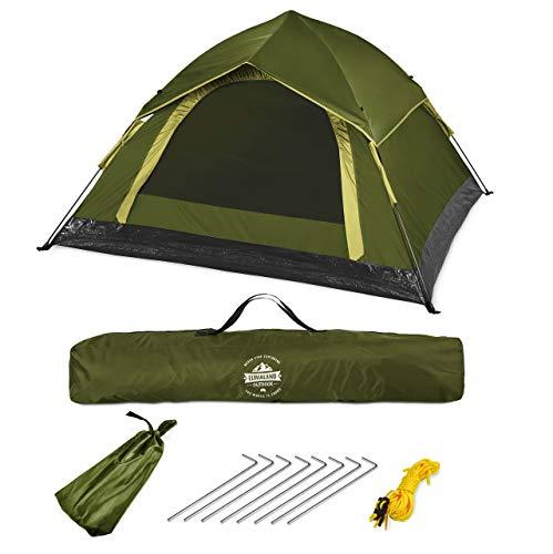 Lumaland Tienda de campaña Outdoor Light Pop Up Ligera para 3 Personas Camping Acampada Festival 210 x 190 x 110 cm Verde