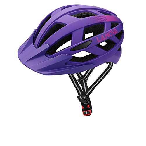 LANOVAGEAR Casco Bicicleta Unisex Adulto Unisexo Ajustable 54-61cm con Visera y Forro Desmontable para Ciclismo de Montaña Bicicleta(púrpura,L)