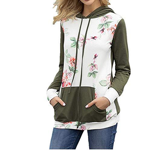 Sudadera con capucha de flores de manga larga suéter grande de mujer