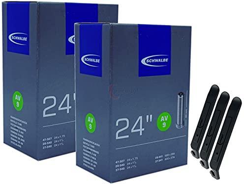 pneugo! Schwalbe - Cámara de aire para bicicleta (2 unidades, 24', válvula automática 28-540/47-507 AV9, incluye 3 desmontadores de neumáticos)