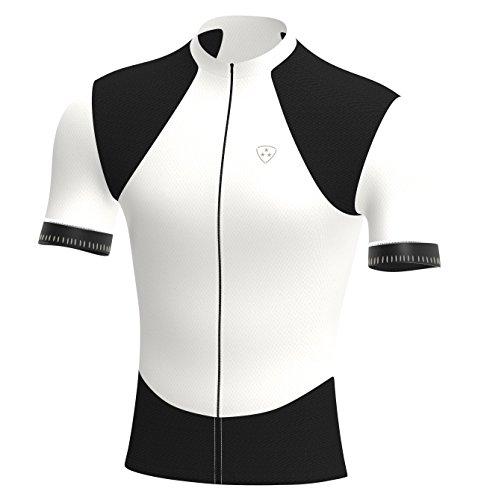Deportes Hera Ropa Ciclismo, Maillot Mangas Cortas, Camiseta Verano de Ciclistas, Slim Fit (Blanco/Negro, L)