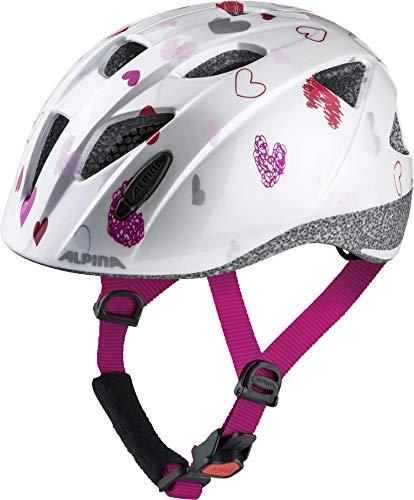 Alpina Ximo Casco de Bicicleta, Niñas, Blanco (White Hearts), 45-49