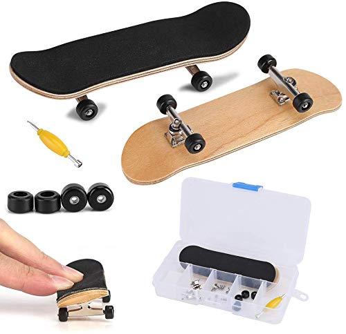 Fingerboard Finger Skateboards, Mini diapasón, Patineta de dedos profesional para Maple Wood DIY Assembly Skate Boarding Toy Juegos de deportes(Negro)