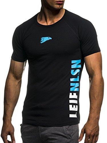 Leif Nelson Camiseta para Hombre con Cuello Redondo de Gimnasia Ropa de Deporte LN-06279 Azul Negro...*