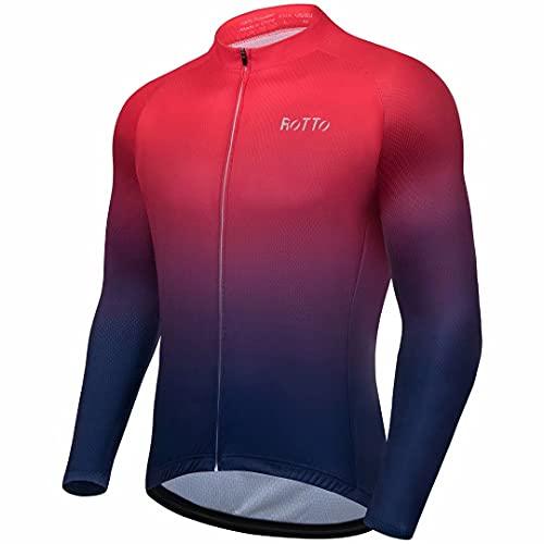 ROTTO Maillot Ciclismo Hombre Camiseta Ciclismo Manga Larga con Bolsillo Serie de degradados*