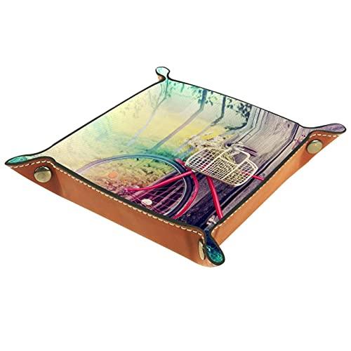 LXYDD Caja de Almacenamiento Multiusos con Bandeja Valet de Cuero Organizador de bandejas Se Utiliza...*