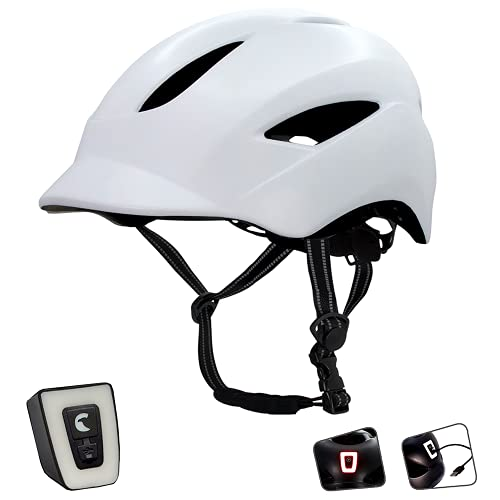 Crazy Safety Casco de Bici para Hombres, Mujeres, niños y niñas | Casco de Bicicleta con luz LED Recargable por USB integrada | Correas Reflectantes para Mayor Seguridad | Casco de Bici Urbana Ligero