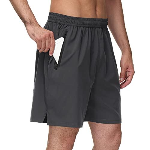 Geymxzik Pantalones Cortos Hombre Deportivos Secado Rápido Transpirable Shorts Pantalón Correr con Bolsillo con Cremallera para Running Fitness Gym Gris XXL