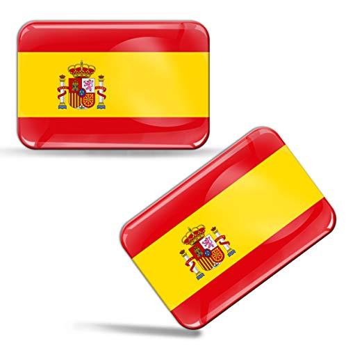 Biomar Labs® 2 pcs 3D Gel Pegatinas Bandera Nacional de España Spain Silicona Adhesivo Autos...*