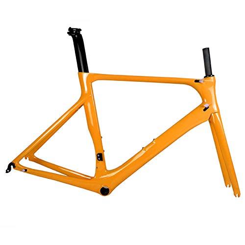Cuadro de bicicleta de carretera de carbono completo DI2 y maquinaria de bicicleta de carretera de carbono BB86 50.5/53/56 cm Garantía de 2 años (Naranja),53cm