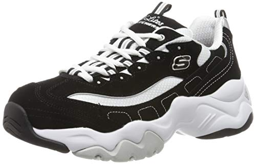 Skechers D'Lites 3.0-Stride Ahead, Zapatillas Mujer, Negro (BKW Black Leather/White Mesh/Silver Trim), 39 EU