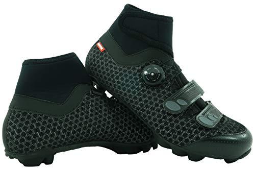 LUCK Zapatillas de Ciclismo para Invierno Winter MTB, con Suela de Carbono SHD, y Sistema rotativo de precisión acompañada de 2 velcros. (44 EU)