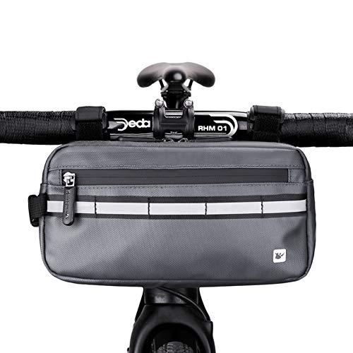 Rhinowalk Bolsa Multifuncional para Manillar de Bicicleta Impermeable Bolsa de Manillar de Bicicletas de Carretera y de Montaña para para Cuadro Superior con Correa de Hombro Desmontable (Gris)