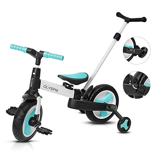 OLYSPM 5 en 1 Triciclo Bebé Plegables Bicicleta sin Pedales para 1-6 Años Niños,Triciclo para...*
