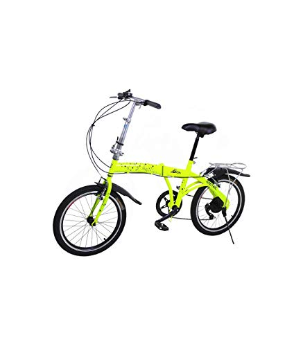 Riscko Bicicleta Plegable Metric Amarillo Fluor con 7 Velocidades Manillar y Sillín Ajustables