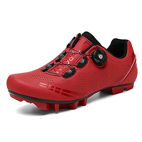 Zapatillas de Bicicleta de Montaña Antideslizantes para Hombre Mujer Zapatillas de Ciclismo MTB Transpirables Profesionales Compatibles con SPD Red 270