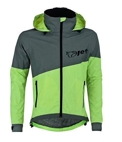 JET Ultra Hi Vis 360 reflectante impermeable chaqueta de ciclismo al aire libre transpirable a prueba de viento (Fluro, M)