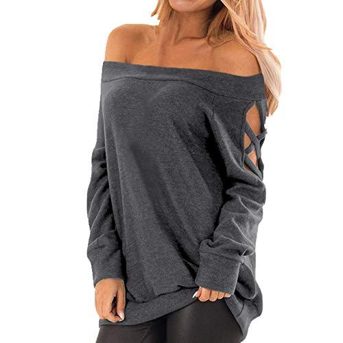 U/A Suéter sexy para mujer con hombros descubiertos y manga larga
