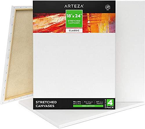 Arteza Lienzo para pintar cuadros   45x70 cm   Pack de 4   100% algodón   Lienzos en blanco...*
