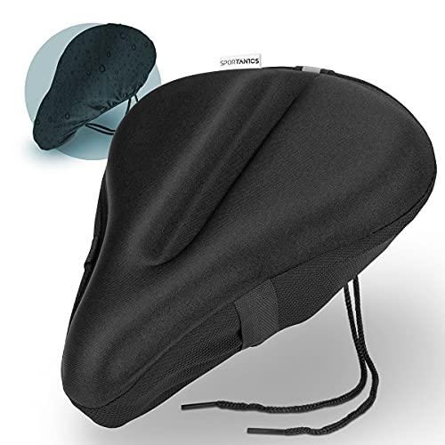 sportanics I - Funda de gel para sillín de bicicleta, incluye funda para la lluvia, para hombre y mujer, acolchado extra suave para el sillín de bicicleta, funda de gel ancha [Relax Fit]