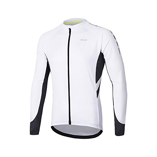 ARSUXEO Maillot de Ciclismo para Hombre Camisa de Manga Larga con Cremallera Completa y Bolsillos...*